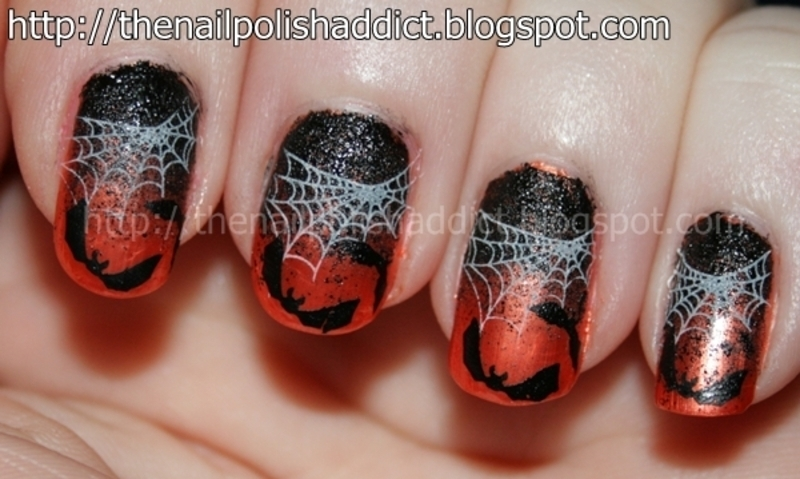 Batty Halloween Gradient nail art by Leah