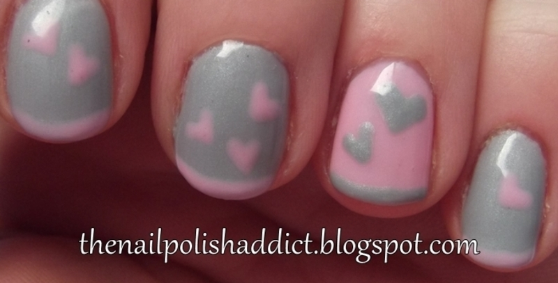 Valentine's Day Skinny French nail art by Leah