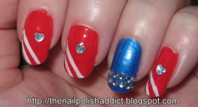 Red, White, and Blue nail art by Leah