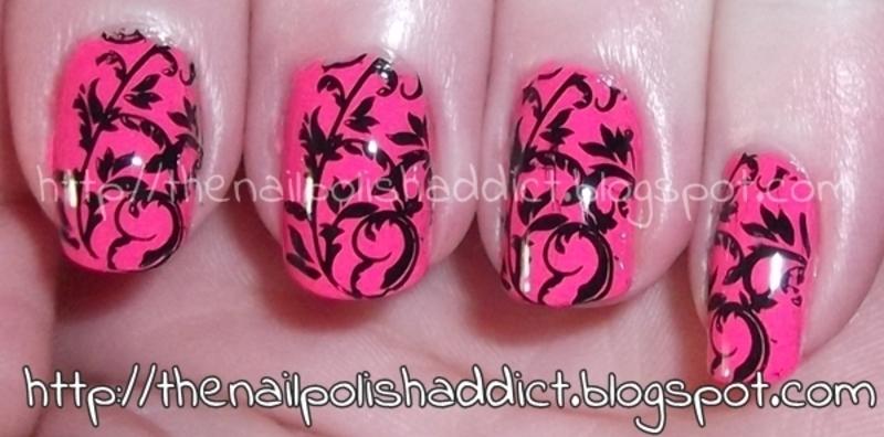 Hot Like Pink nail art by Leah