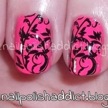 Hot Like Pink nail art by Leah