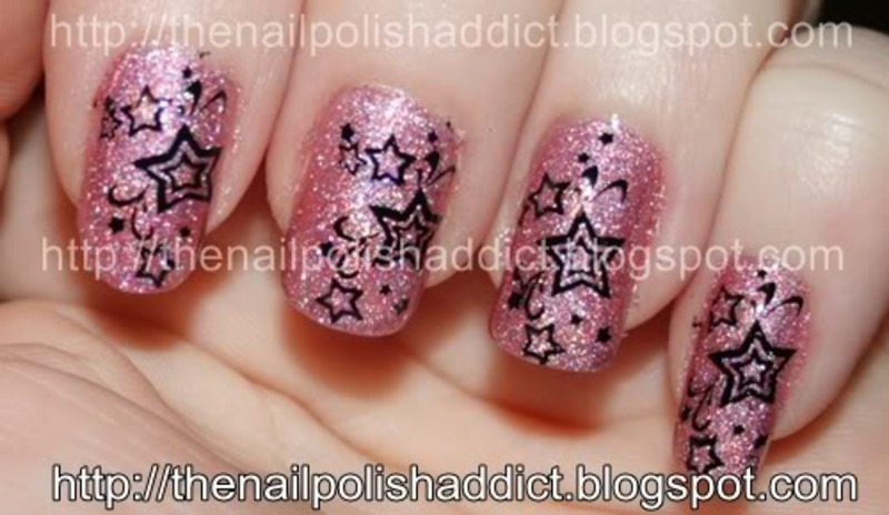 Star Struck nail art by Leah