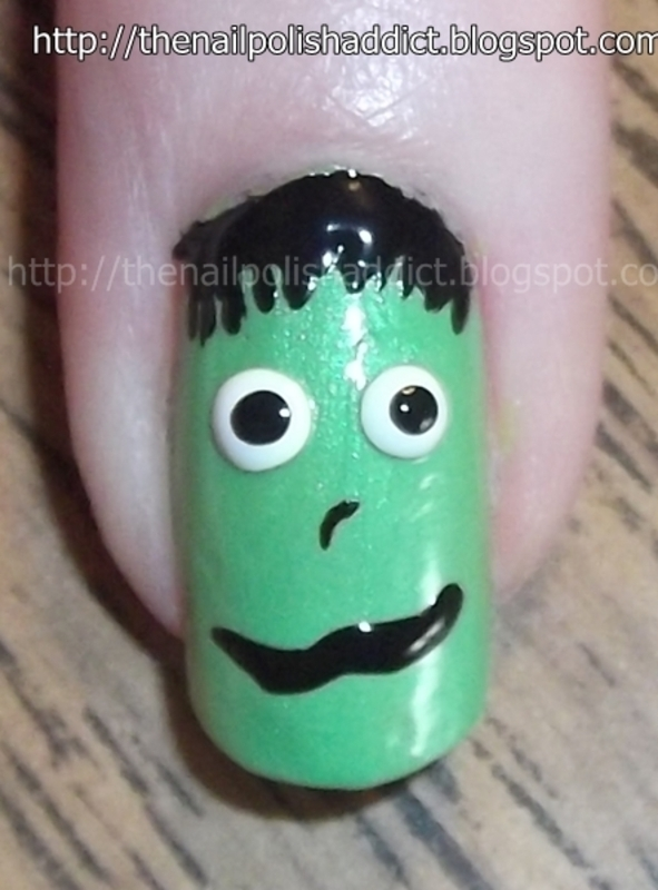 Can't Read My Monster Face nail art by Leah