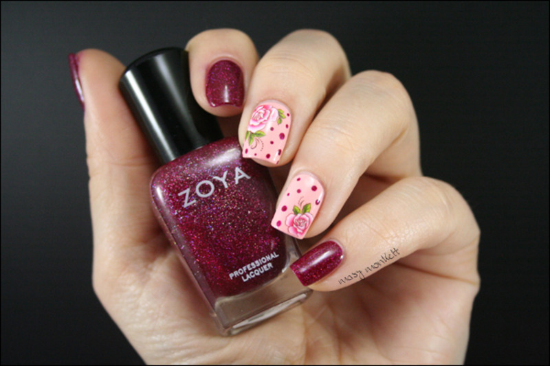 Blaze et la rose nail art by Mary Monkett