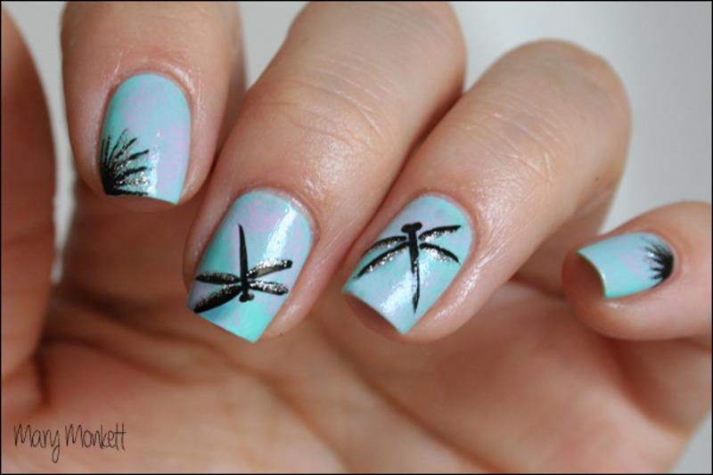 Duo de libellules nail art by Mary Monkett