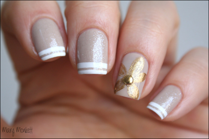 Nude, chic and sparkle nail art by Mary Monkett