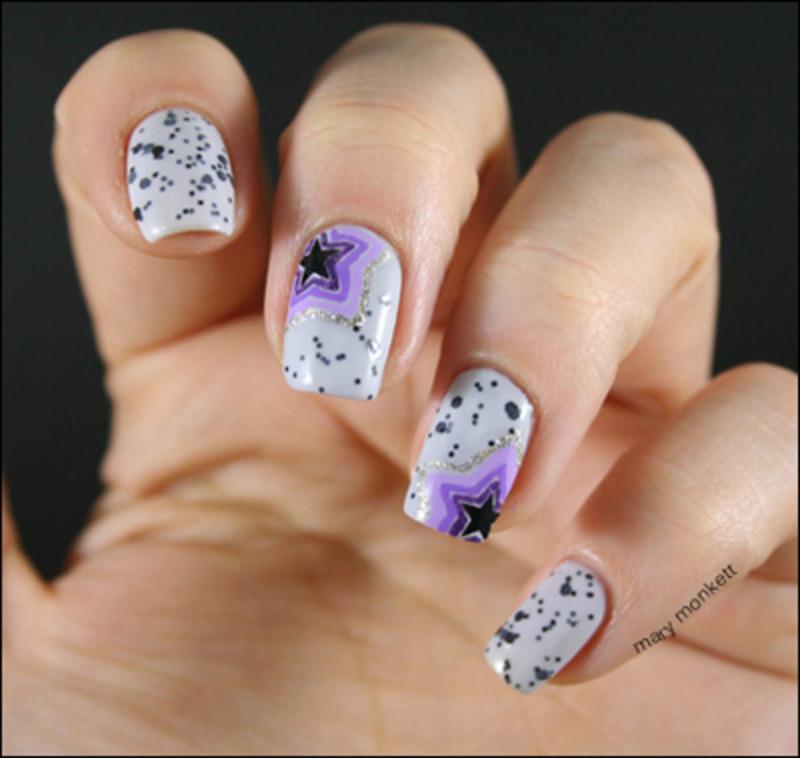 Gris moucheté et étoiles nail art by Mary Monkett