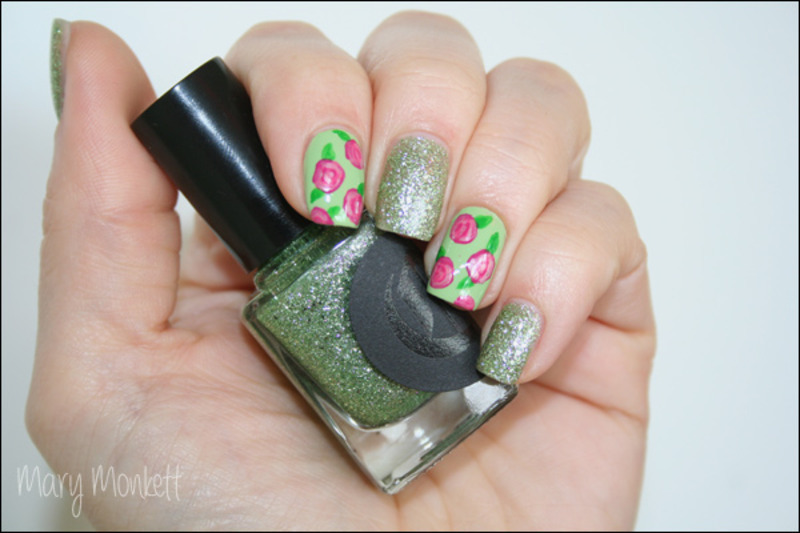 Hellebore's roses nail art by Mary Monkett