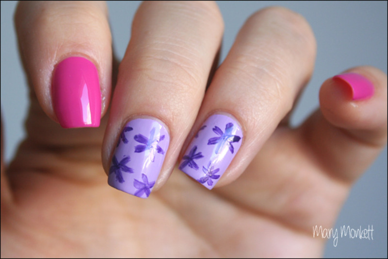 Fleurs et fuchsia nail art by Mary Monkett