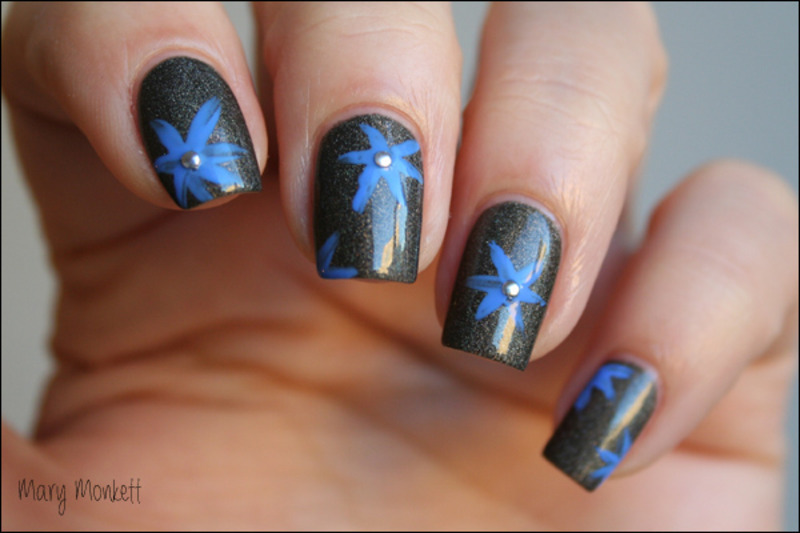Fated Prince et fleur bleue nail art by Mary Monkett