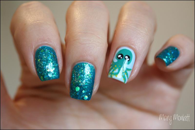 Le kraken nail art by Mary Monkett