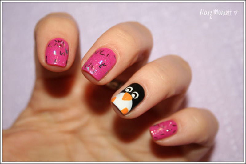 Le pingouin nail art by Mary Monkett