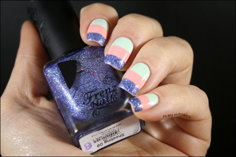 Ménage à trois Frenz Nailien nail art by Mary Monkett
