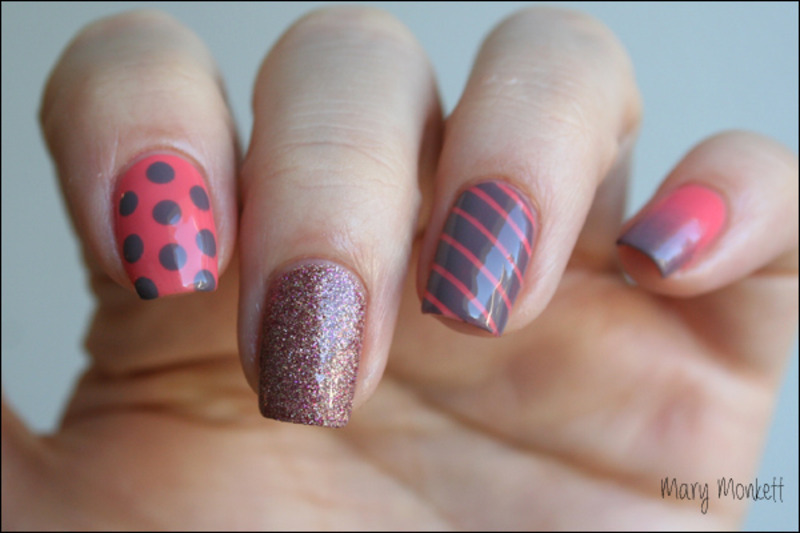Mix and match nail art by Mary Monkett