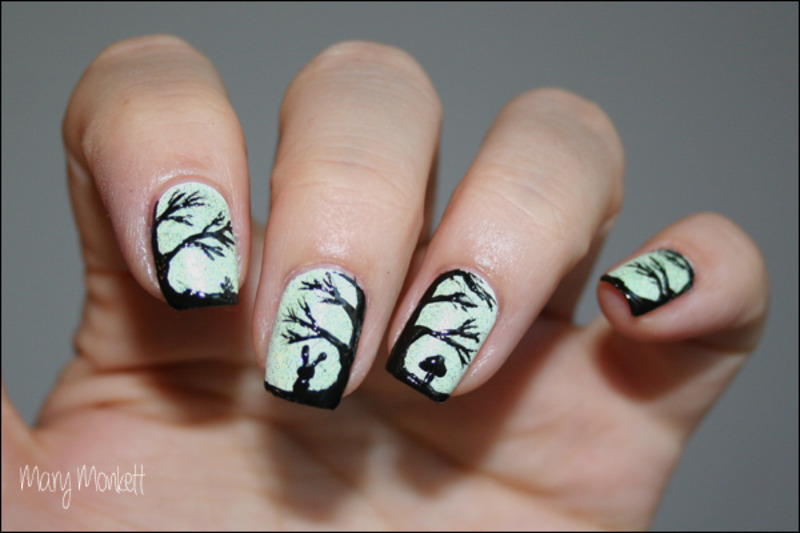 Arbres et forêts nail art by Mary Monkett