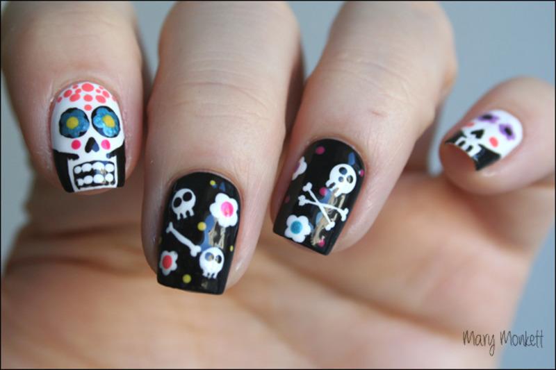 Sugar skulls nail art by Mary Monkett