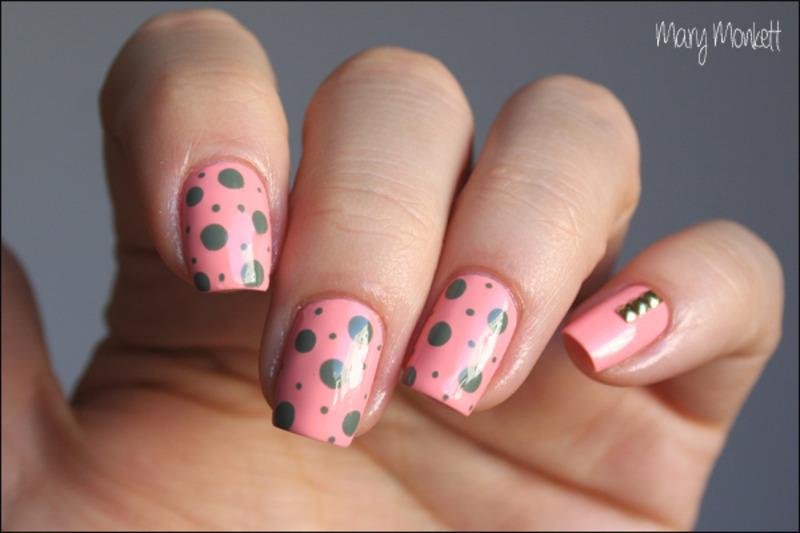 Peaches 'n camo dots nail art by Mary Monkett