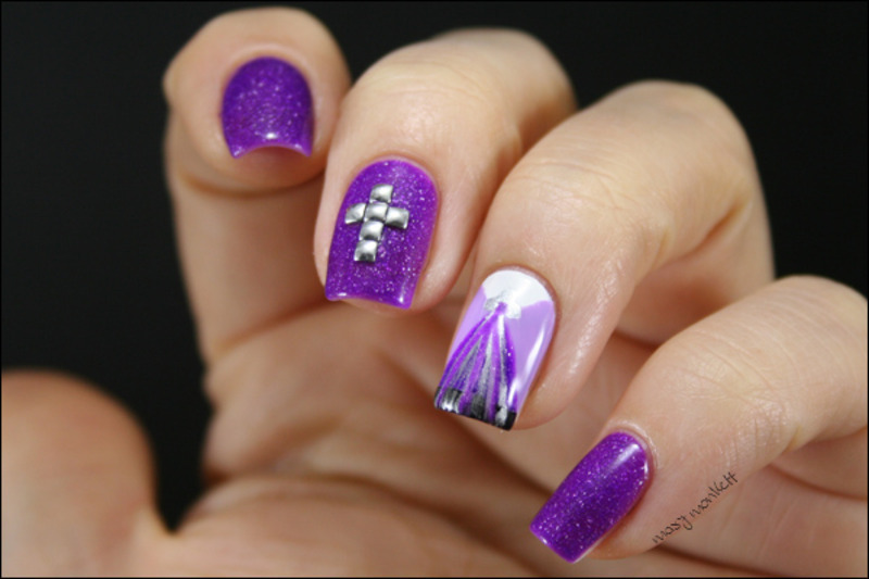Shy Violet nail art by Mary Monkett