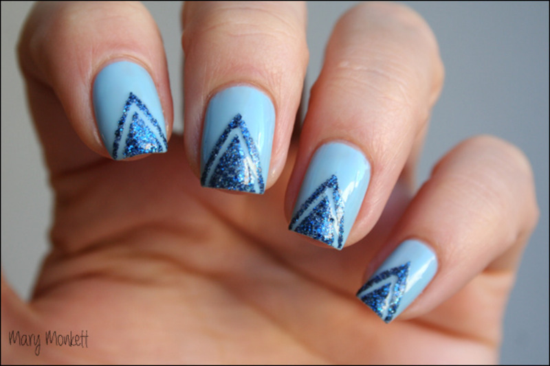Strip Lapis nail art by Mary Monkett