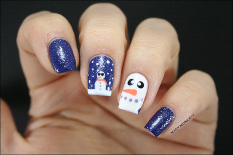 Sunshine et le bonhomme de neige nail art by Mary Monkett