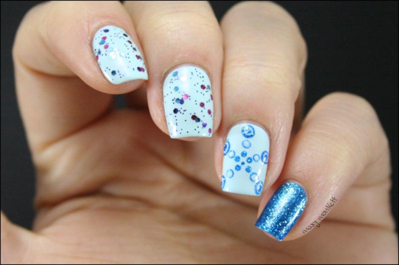 Super sky polka mix nail art by Mary Monkett