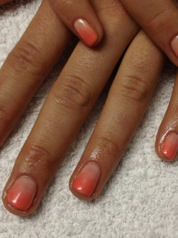 Coral Ombre nail art by Laurelle Alexandra