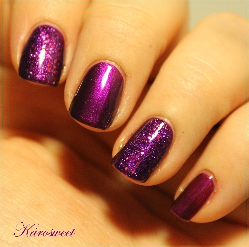 Purple glitters nail art by Karosweet