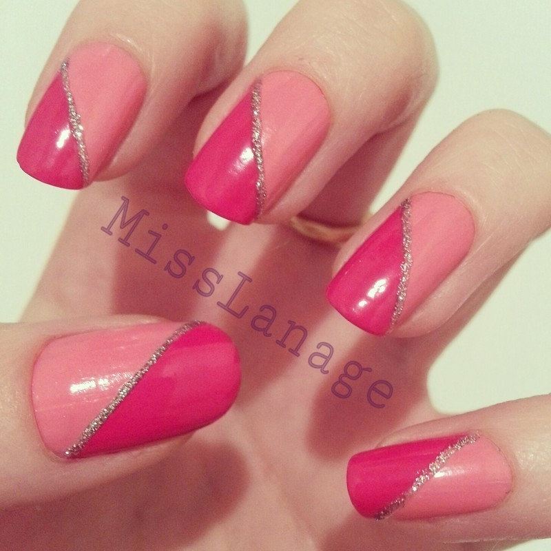 Pink Half and Half nail art by Rebecca