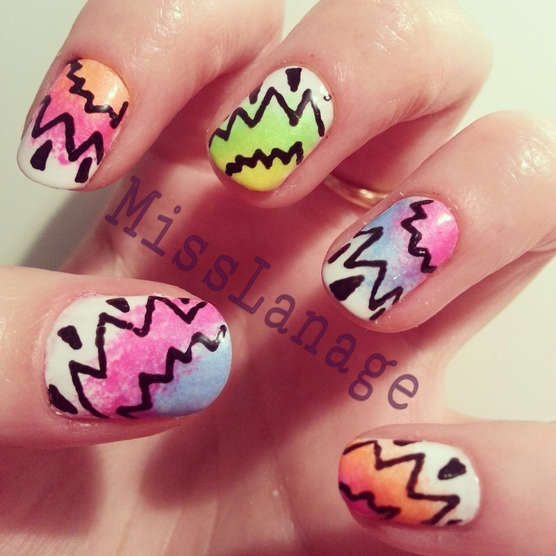 Neon Graffiti nail art by Rebecca
