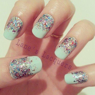 Glitter Gradient nail art by Rebecca