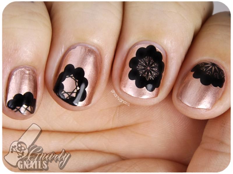 Metallic Flowers nail art by Missy
