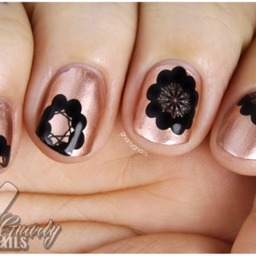 Metallic Flowers nail art by Missy