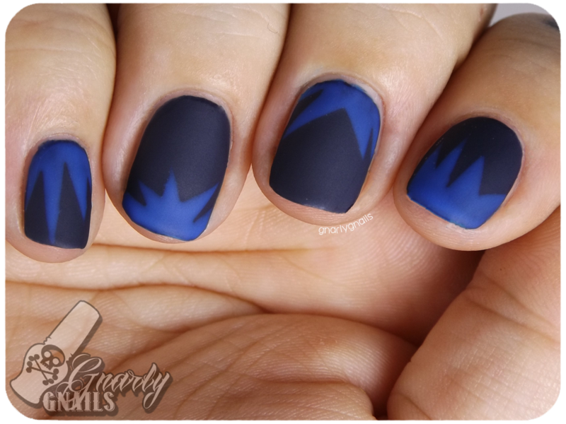 Blue Bursts nail art by Missy