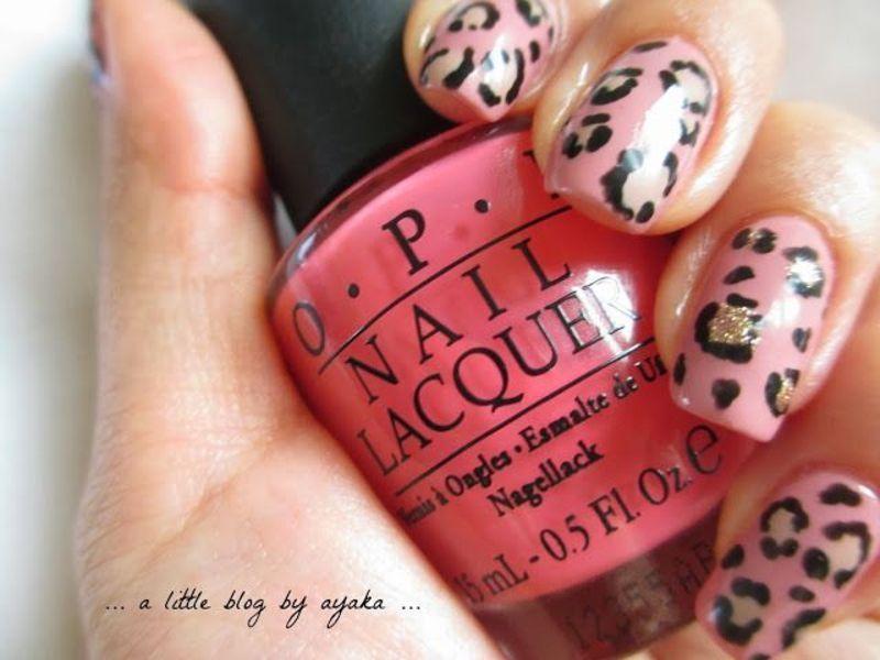 pink leopard nails 🐈 nail art by Ayaka