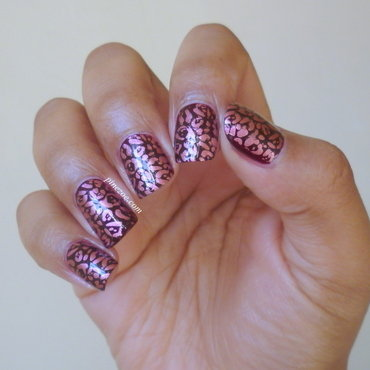 Red Leopard Print nail art by Pinezoe