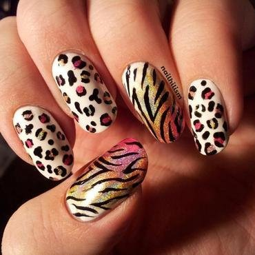 Holographic Animal Print nail art by Harriet Lockett