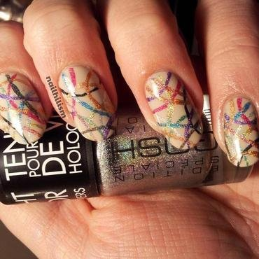 Holo Curves nail art by Harriet Lockett