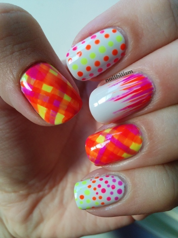 Neon Tartan nail art by Harriet Lockett