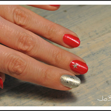 Red and satr new year nails nail art by Jo3jeans