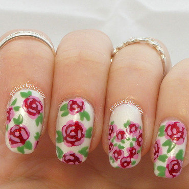V Day Roses nail art by Serra Clark