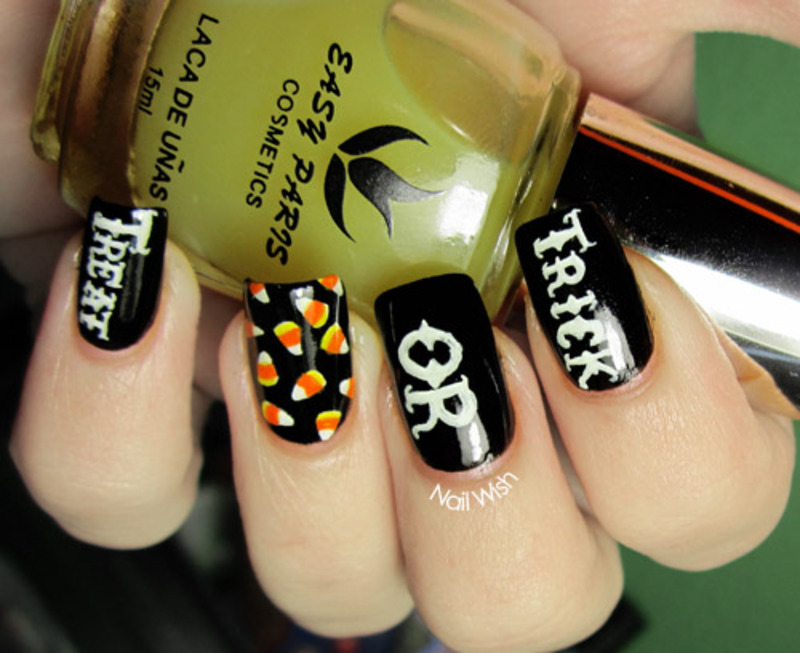 Candy Corn Tutorial nail art by NailWish