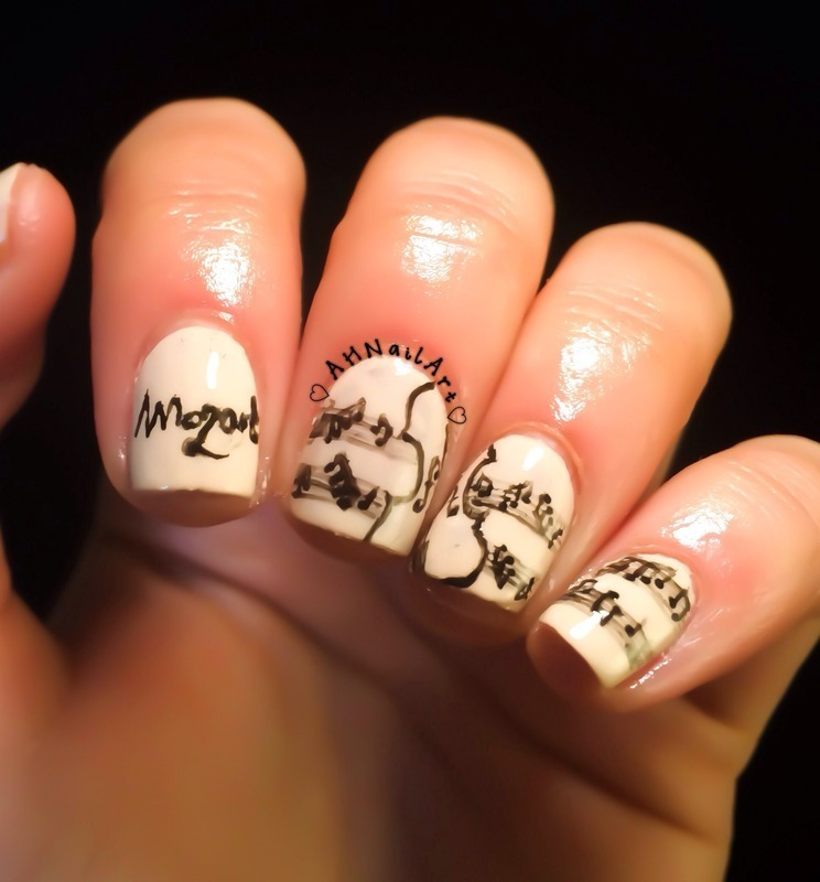Mozart Music Nails nail art by AH Nail Art