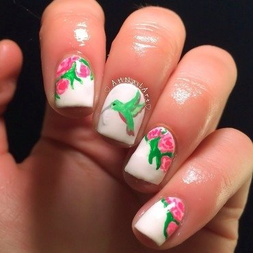 Hummingbird Nails nail art by AH Nail Art