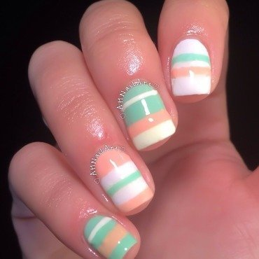 Pastel Stripes nail art by AH Nail Art