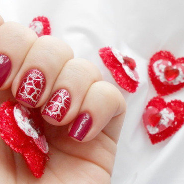The broken heart nail art by Tanya Wish