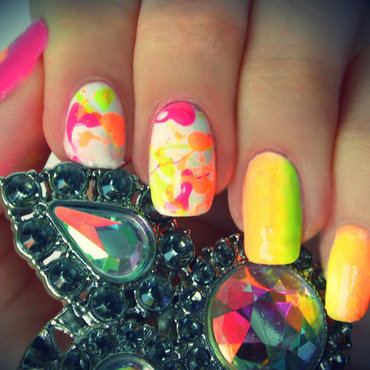 Neon gradient manicure nail art by KonadAddict