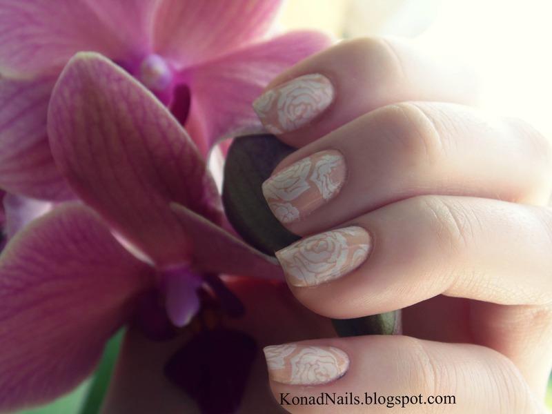 Nude roses nail art by KonadAddict