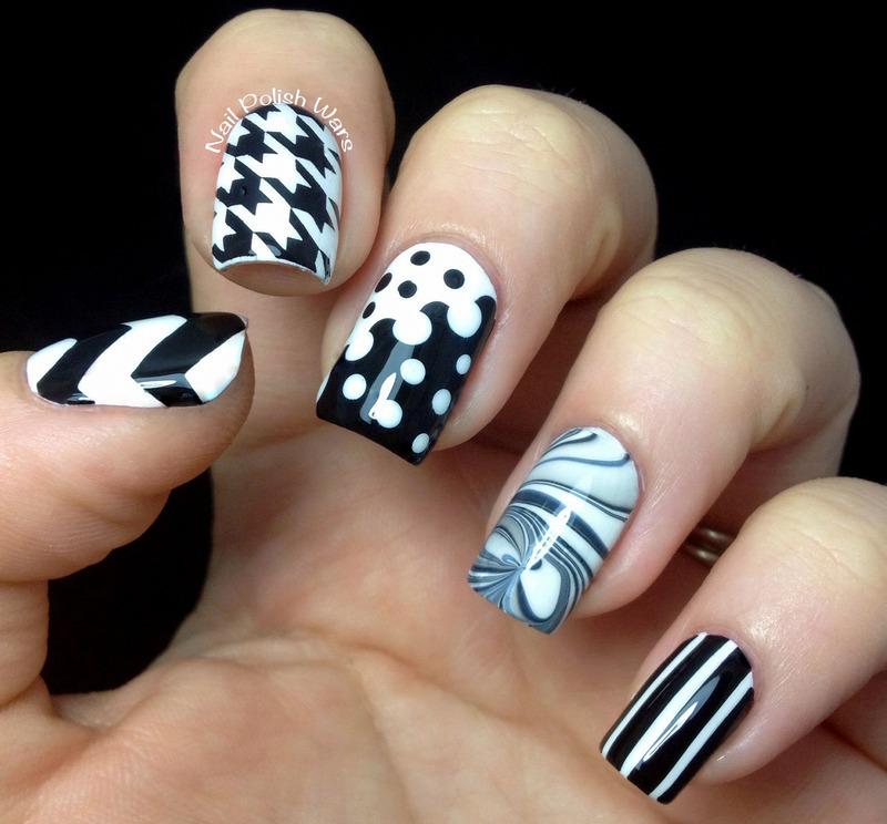 Black & White Skittles nail art by Nail Polish Wars