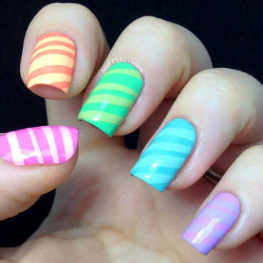 Candy Striped nail art by Nail Polish Wars