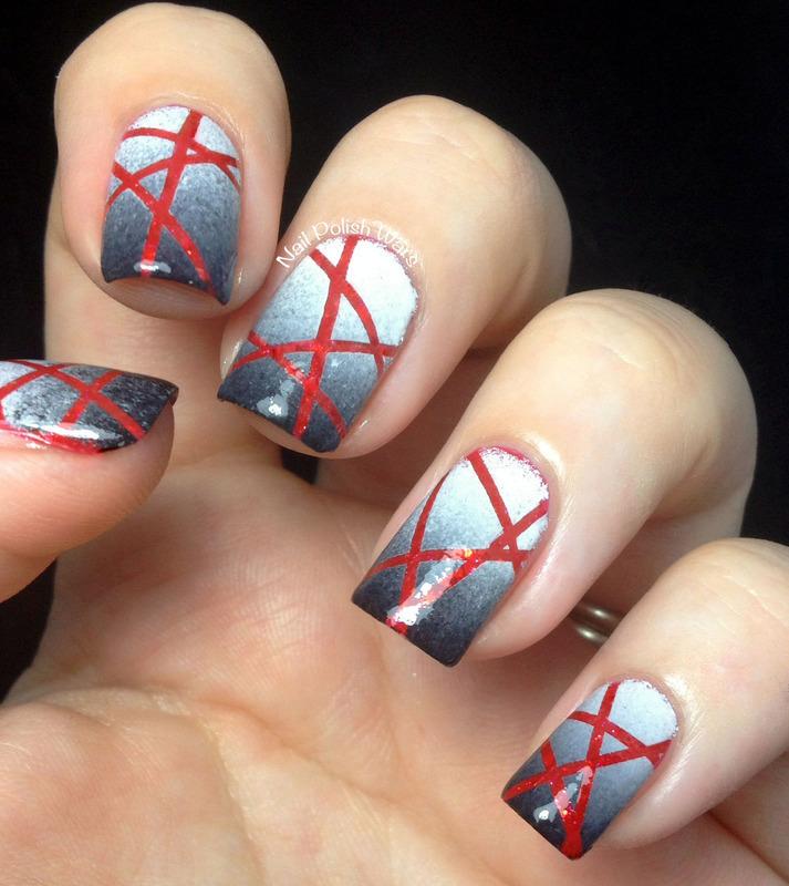 Slasher Flick nail art by Nail Polish Wars